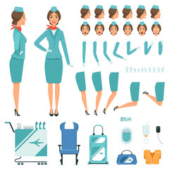 Constructor characters of Stewardess. Vector mascot creation kit
