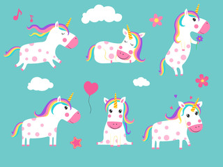 Cartoon unicorns. Cute fairy tale animals in dynamic poses
