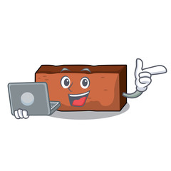 With laptop brick character cartoon style