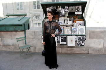 French ballerina Dorothee Gilbert poses before the Haute Couture Fall/Winter 2018/2019 collection show for fashion house Chanel at the Grand Palais in Paris