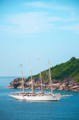 High angle view of Similan island and cruise ship Andaman sea. Phang Nga - Phuket, Thailand