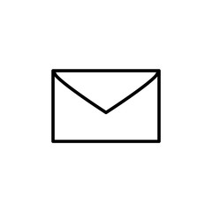 Mail envelope black and white simple icon, vector