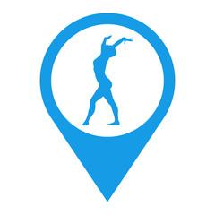 Icono plano localizacion silueta mujer gimnasia en suelo azul