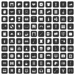 100 leisure icons set in black color isolated vector illustration