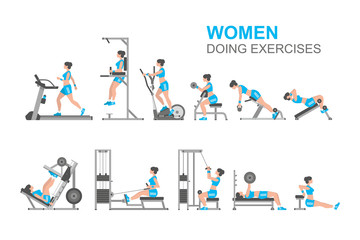 Women doing exercises, flat style. isolated on white background