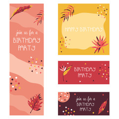 Invitation template set with tropical leaves