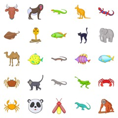 Animals of the jungle icons set. Cartoon set of 25 animals of the jungle vector icons for web isolated on white background
