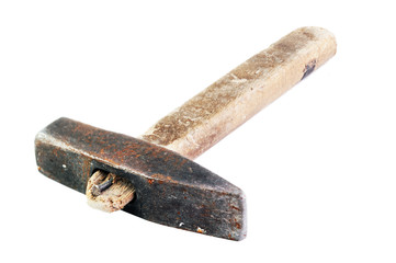 Old hammer isolated on white background