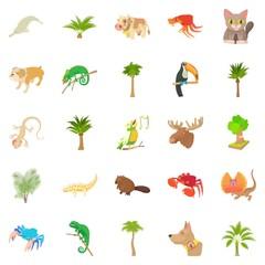 Animal life icons set. Cartoon set of 25 animal life vector icons for web isolated on white background