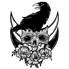 Vector illustration with a human skull, raven and flowers. Gothic brutal skull. For print t-shirts or book coloring.