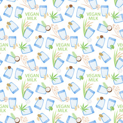 Vegan milk vector flat seamless pattern
