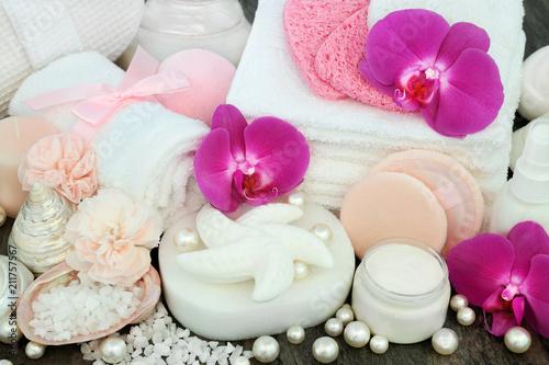 Beauty spa treatment products including shell shaped soap, epsom
