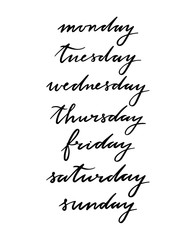 Days of the week lettering set. Hand drawn calligraphy set
