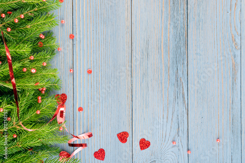 blue rustic christmas background with fir branches - Rustic Christmas Background