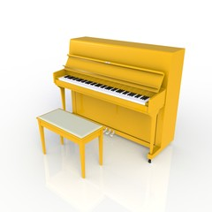 Side view of classic musical instrument yellow piano isolated on white background, Keyboard instrument, 3d rendering