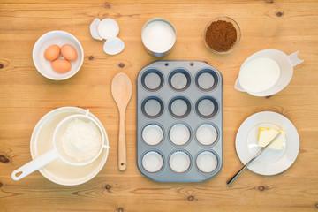Flat lay Cup cake making ingredients.