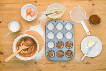 Flat lay Cup cake making mixture