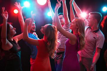 Young people having fun dancing