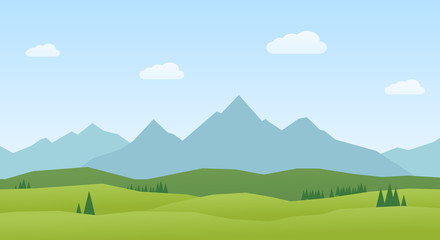 Vector Landscape mountains and hills flat design