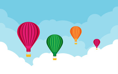 Hot air balloons. Tourism and vacation theme. Flat design vector illustration.