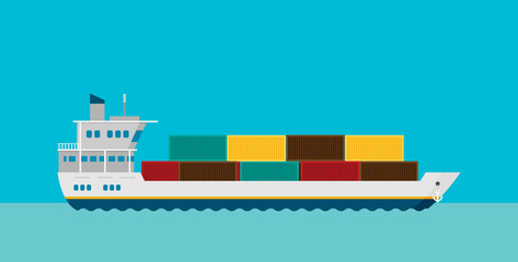 Cargo ship in sea vector illustration, flat style