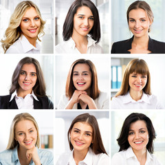 Portraits of smiling business women. Collage