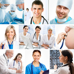 Young female doctor on modern clinic background.