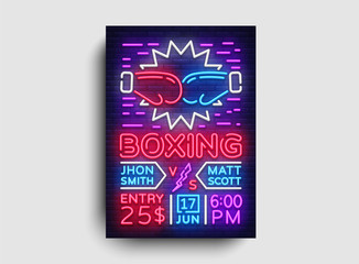 Boxing Flyer design template. Boxing night Light Banner, Design Boxing Match Invitation, Neon Style, Bright Brochure, Typography, Bright Neon Advertising. Vector illustration