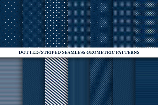 Collection of seamless vector patterns - dotted and striped textures. Elegant design - geometric backgrounds