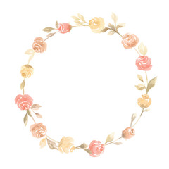 Hand painted pastel watercolor wreath flower wedding decoration