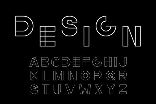 Vector minimalistic font - modern futuristic design. Creative english alphabet. White latin letters