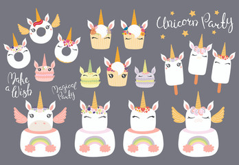Big set of different desserts with cute funny unicorn faces, horns, ears, wings, lettering quotes. Isolated objects on gray background. Vector illustration. Flat style design. Concept children print.