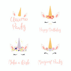 Set of hand written birthday lettering quotes, with cute unicorn faces. Isolated objects on white background. Vector illustration. Design concept for banner, invitation, greeting card.