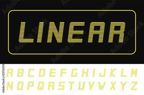 Vector modern striped font - futuristic design  Trendy