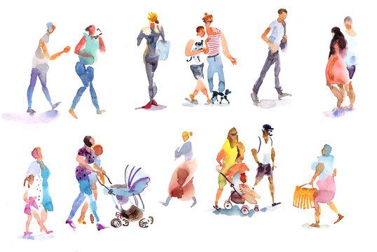 people, watercolor sketch