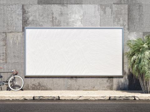 Outdoor Poster frame Mockup. 3d illustration
