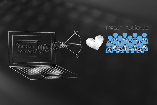 Internet campaign pop-up on laptop screen with love icon on spring and target audience