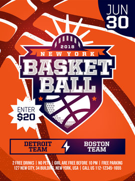 modern professional sports design poster with basketball tournament in orange theme