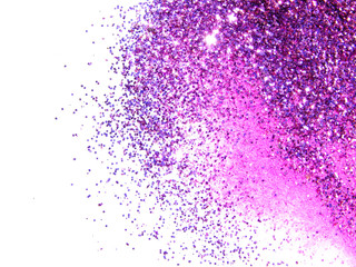 Purple glitter sparkles on white background. Beautiful abstract backdrop for vip design, fashion,...