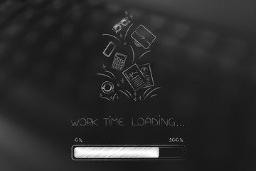 work time loading progress bar with group of office and business-related icons above