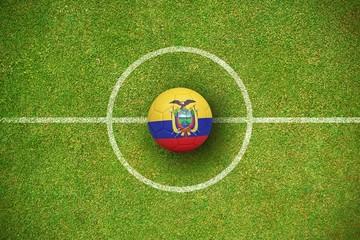 Composite image of football in ecuador colours