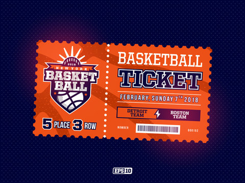 Modern professional design of basketball tickets in orange theme