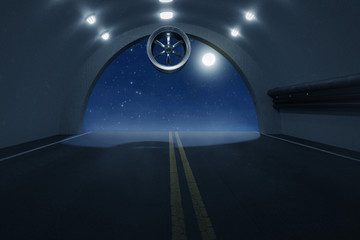 3d rendering of empty highway concrete tunnel with lights at night in the moonlight