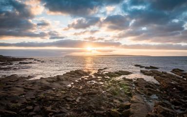 Sunset and coastline from John O'Groats, Scotland