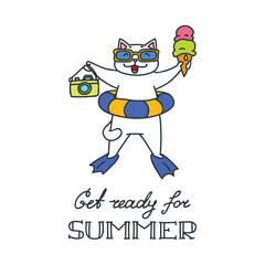 Get ready for summer. Doodle vector illustration of happy white cat holding an ice cream and a photo camera