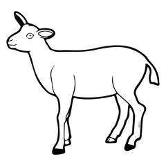 Goat cartoon illustration isolated on white background for children color book