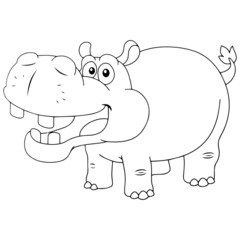Hippo cartoon illustration isolated on white background for children color book
