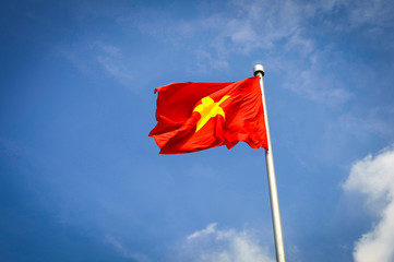 communist flag of Vietnam flutters