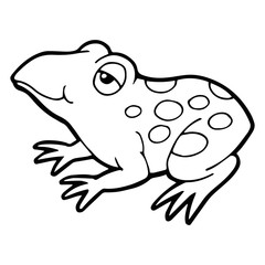 Frog cartoon illustration isolated on white background for children color book