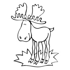 Moose cartoon illustration isolated on white background for children color book